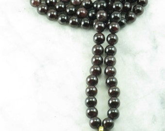 Green Tara Mala - Garnet Mala Beads- Buddhist Prayer Beads, 108 Mala Beads - Healing and Self Worth