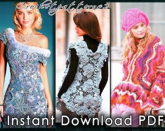 Instant Download PDF ebook - crochet patterns. Women's crochet and knitting dresses, jackets and cardigans, freeform, irish lace. JM563