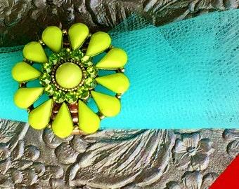 Lime Green Flower Adjustable Ring