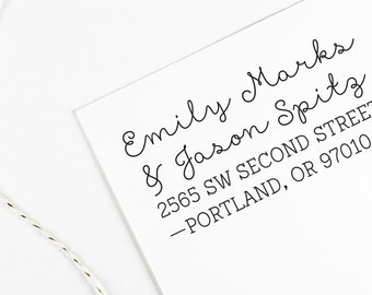Custom Self Inking Return address stamp for couples with different last names, rubber stamp wood handle