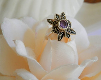 Art Deco Style Ring, Amethyst Ring, Marcasite Jewelry, February Birthstone Ring