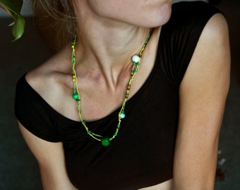 Bright Green Boho Necklace. Multistrand Necklace. Beaded Jewelry. Bohemian Bracelet. Hippie Jewelry. Unique Christmas Gift. Gift Jewelry