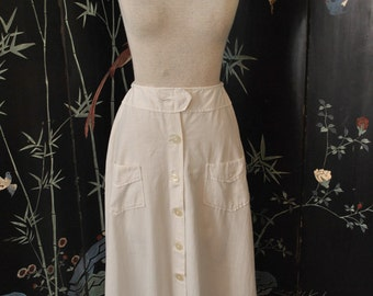 1910s White Linen Summer Skirt - Small