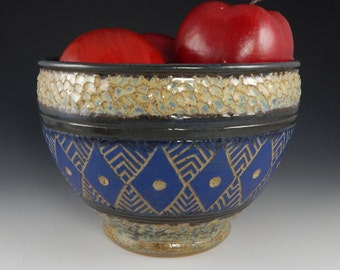 Blue ceramic mixing bowl, ceramic serving bowl, ceramic fruit bowl, ceramic batter bowl, sgraffito pottery
