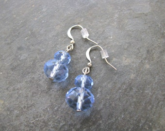 Blue Crystal Earrings; Beaded Earrings