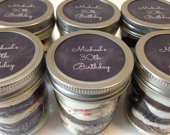 4 (8oz) Cupcakes In A Jar-Happy Birthday-Birthday Favors-Favors-30th-30th Birthday-Man-Male-Black-White-Sweets-Birthday Edibles-Gifts