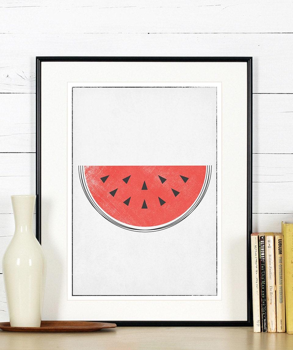 Affiches r tro de fruits art cuisine melon d 39 eau design for Affiche decoration cuisine
