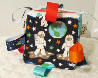 Spaceman in Outer Space Baby Toy - Sensory Ribbon Tag  Cube - Can be Personalized
