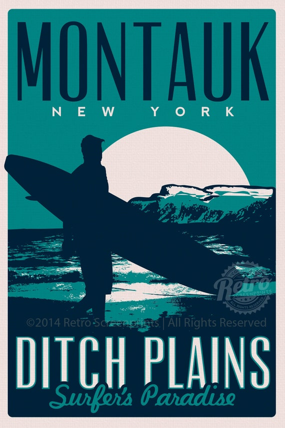 Montauk Ditch Plains Retro Vintage Surf By Retroscreenprints