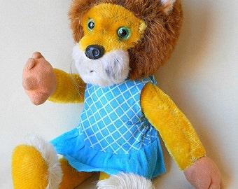 Schuco Bigo Bello lion German vintage 1970s mohair lion with overlong wired bendable limbs, original dress, glass eyes
