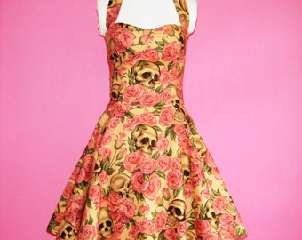 Sew Deadly...Skulls n Roses Goth Halter Neck With Built In Tulle Petticoat Made to Order