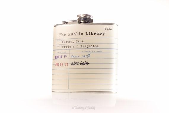 Jane Austen Public Library Card  - 6oz or 8oz Hip Flask
