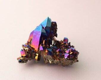 Titanium Aura Quartz - Cobalt Blue Dichroic Aura Clear Quartz Double-Terminated Crystal Cluster