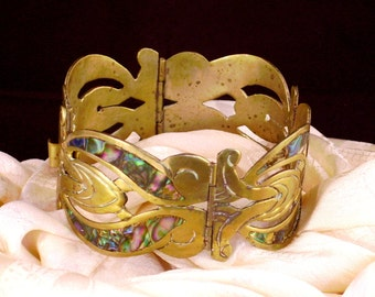 Mexico Abalone Inlay Panel Bracelet For Repair Repurpose Hinged Alpaca Silver Hecho En Mexico Mexican Jewelry