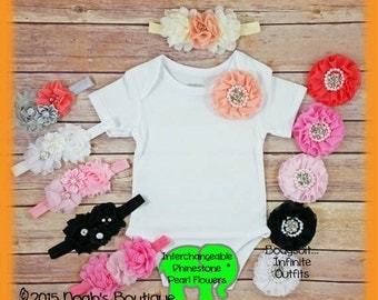 Cute Baby Girl Clothes - Rhinestone and Pearl Flower - Bodysuit Headband - Peach - Coral - Pink - Cute Baby Girl Shirt - Baby Shower Gift