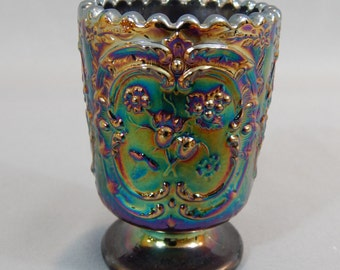 Elegant Vintage Carnival Glass Footed Toothpick Holder Vessel with Scalloped Edge - Wild Strawberry Pattern