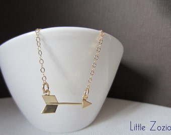 Arrow necklace - Gold 14 kt chain