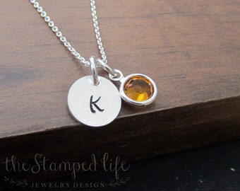 Tiny Initial and Birthstone Necklace, Sterling Silver, Hand Stamped