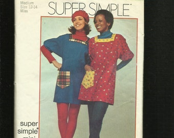 1972 Simplicity 5272 Easy Fitting Smock Dress with Square Neckline Size Medium 12/14