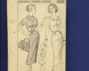 1950's Advance 8262 Shirtwaist Mid Century Dresses with Front Buttons & Pleated Pencil Skirt  Size 12