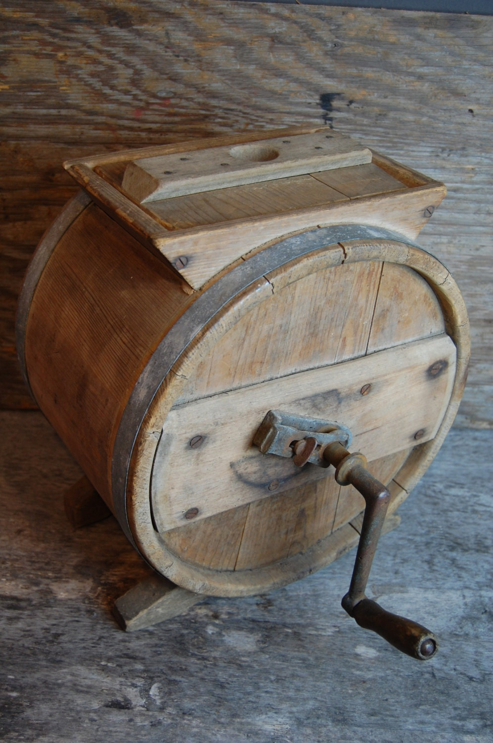 Sale Antique Wooden Tabletop Butter Churn With Crank Handle