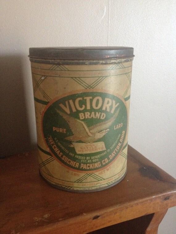 Vintage Victory Lard Pail Tin Bucket Can Sucher Dayton Ohio