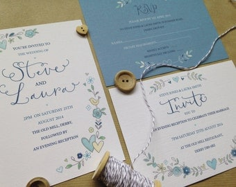 Wedding Invitation Sample - Pretty Blooms Calligraphy (Blue)