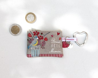 "Keyring / mini wallet in illustrious lin ""happy mother's day"""