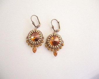 "Swarovski earrings ""Sari"" in copper and cream"