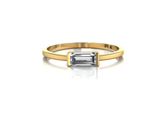 SOLID 14K Yellow Gold Tiny Horizontal Baguette Ring Sideways Baguette Crystal