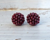 Frosted Marsala - 2 small marsala red handwoven beads - handwoven beaded beads - handmade beads - seed bead beads
