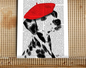 Dalmatian Gift Idea Dalmatian print Dalmatian Wall Art - Red Beret - dog nursery art dog gift ideas wall art dog lovers nursery dog poster