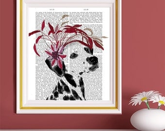 Dog Wall décor gift for dog lover dog art - Red Fascinator - Gift for Dalmatian owner Cute Dalmatian Dalmatian gift Dalmatian lover pet gift
