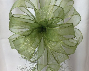 Green Tree Topper Bow - Christmas Tree Topper Bow - Tree Topper Bow - Christmas Bow -  Gift Bows - Gift Topper Bow - Holiday Bow