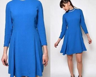 Vintage 70's Blue Mod Dress / Long Sleeve Mini Dress