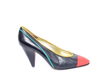 Vintage 80's Multi Color Heels Pumps