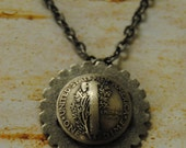 """Marvelous Domed Silver Backside of a Mercury Dime pendant on an 18"""" Chain"""