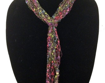 Peace of the Lily Hand Woven Skinny Scarf  #1094
