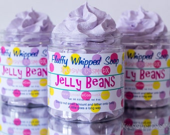 Fluffy Whipped Soap - Jelly Beans, Vegan Friendly, Easter Soap, Spring, Purple, Candy, Sweet Scent, 8 oz. *LARGER SIZE*