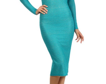Teal Lace Sweetheart Bodycon Midi Dress (Runs small)