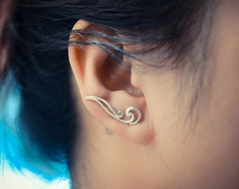 Waves Sterling Silver Ear Climbers