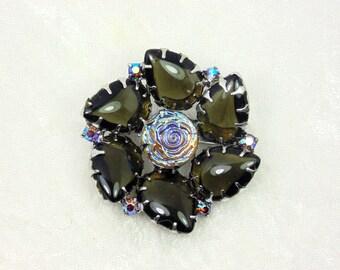 Vintage Black Glass Flower Brooch