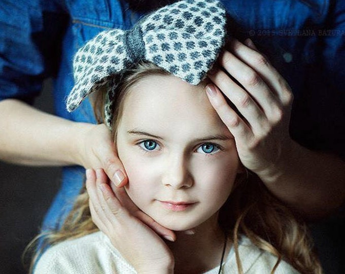 Bow tie headband / knitted girl headband polka dot accessory photo prop / white gray navy blue knit headband