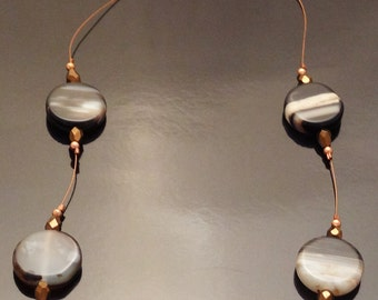 Brown & Black Agate Floating Necklace