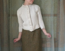 1950s Cream Cropped Cardigan Vintage Sweater 50s Sock Hop Preppy Cardigan 1950s sweater Glamour Knit Zigzag Cardigan Audrey Hepburn
