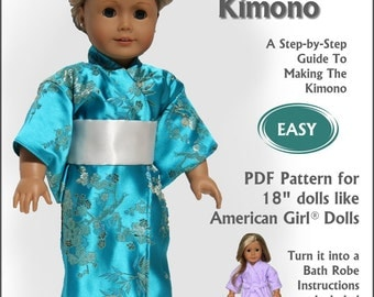 Pixie Faire Read Creations Kimono and Bathrobe 18 Inch Doll Clothes Pattern fits American Girl Dolls - PDF Download