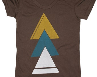 Tops, WOMEN'S American Apparel 50/50 Cotton/Poly Tshirt / Triangle / Earth