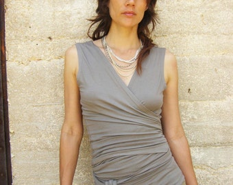 Sale Sleeveless XL size Wrap top-Womens top/shirt-2 ways wrap top/Tank top in smokey color-Ready to ship