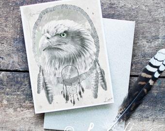 Eagle Greeting Card - Hand Drawn Eagle , Blank Card, Dreamcatcher Art, Eagle Illustration, Original Artwork, Illustrated Card, Wildlife Art