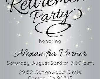 Silver Retirement Party Invitation - Retirement Party Invite - Sparkly Invitations